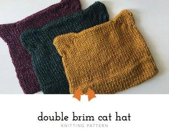Knit Hat Pattern, Cat Hat Pattern, Double Brim Hat Pattern, Knitting Pattern, Women's Hat Pattern, Cute Kitty Hat Pattern, Pussyhat Pattern