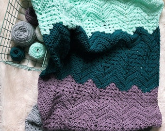 Crochet Baby Blanket, Crochet Chevron Blanket, Throw Blanket, Crochet Granny Chevron Blanket,  Crochet Lap Blanket, Crochet Striped Blanket