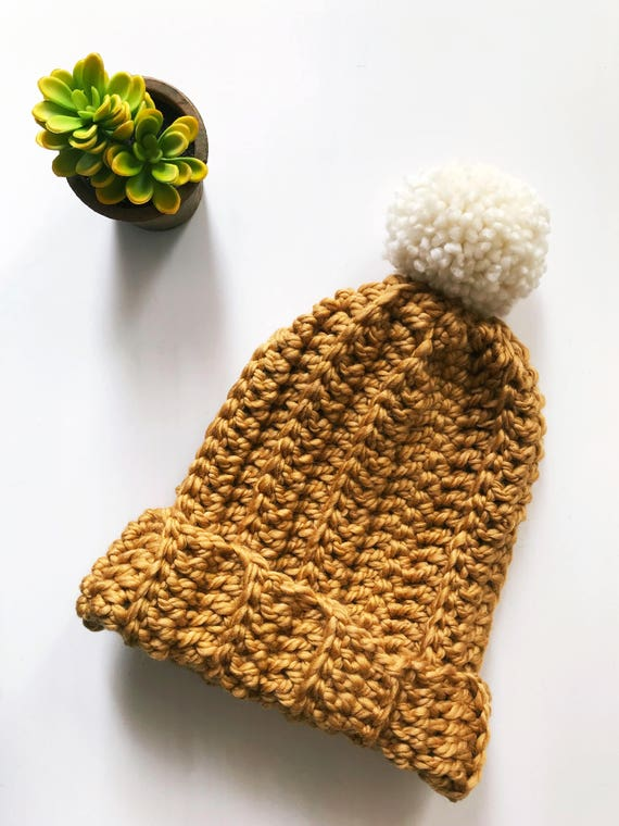 Mustard Hat Women Chunky Hat Mens Hat Chunky Slouchy Pom  4edd79059d0