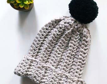Chunky Hat, Beige Hat Women, Mens Hat, Chunky Slouchy Pom Beanie, Womens Hat, Crochet Beanie, Pom Pom, Winter Hat