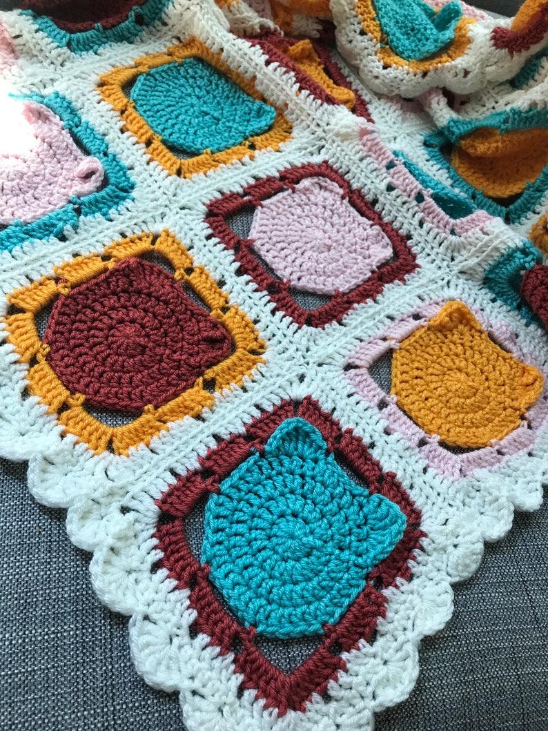Crochet Cat Granny Squares Blanket Crochet Cats Cat Blanket Crochet Cat Blanket Crochet Lap Blanket Crochet Baby Blanket