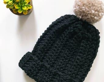 Chunky Hat, Black Hat Women, Mens Hat, Chunky Slouchy Pom Beanie, Womens Hat, Crochet Beanie, Pom Pom, Winter Hat