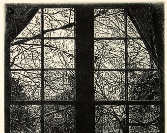 """Original etching titled """"Twenty Four Panes"""" signed by artist"""