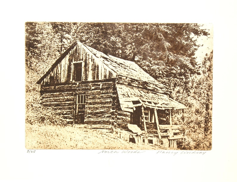 Original etching titled North Woods signed by artist
