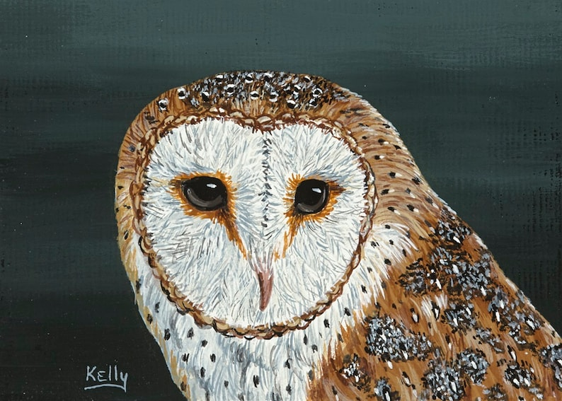 ACEO 2 12 x 3 12 Signed Print of Barn Owl from Original Acrylic by Ann Kelly