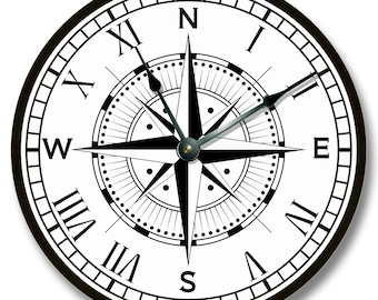 Compass Rose Clock Etsy