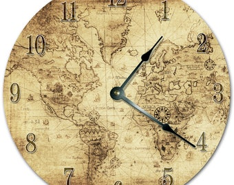 World map wall clock etsy 105 old world map clock living room clock large 105 wall clock home dcor clock 5780 gumiabroncs Gallery