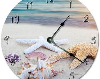 """Large 10.5/"""" Wall Clock 2105 STARFISH And SEA SHELLS Clock"""