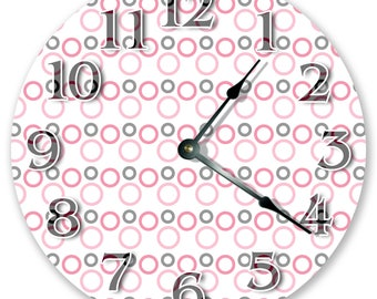 "10.5"" Classic Circle Design Clock - Pink and Gray Clock - Living Room Clock - Large 10.5"" Wall Clock - Home Décor Clock - 3420"