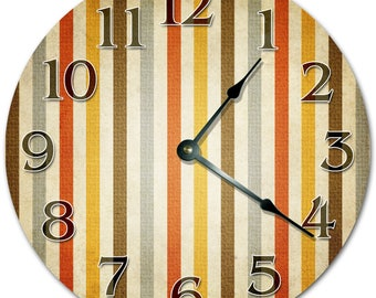 "10.5"" STRIPES DESIGN Clock - Living Room Clock - Large 10.5"" Wall Clock - Home Décor Clock - 5103"