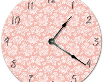 "10.5"" FLORAL DESIGN Clock - PINK Clock - Living Room Clock - Large 10.5"" Wall Clock - Home Décor Clock - 5414"