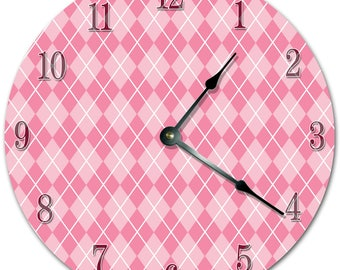 "10.5"" COLORFUL DIAMONDS Pattern Clock - PINK Clock - Living Room Clock - Large 10.5"" Wall Clock - Home Décor Clock - 5704"