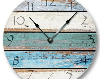 """10.5"""" Wall Clock - Weathered Beachy Boards wall CLOCK - ocean colors old paint boards printed image - shabby beach wall home decor - 7111"""