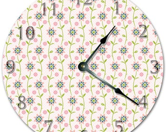"10.5"" GROWING Mini FLOWERS Clock - PINK Clock - Living Room Clock - Large 10.5"" Wall Clock - Home Décor Clock - 5418"