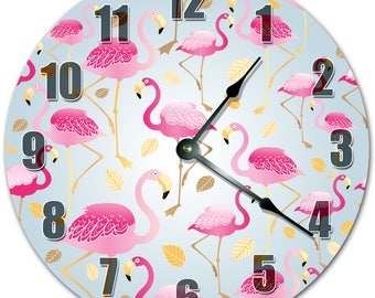 "10.5"" FLAMINGO Clock - PINK Clock - Living Room Clock - Large 10.5"" Wall Clock - Home Décor Clock - 4305"