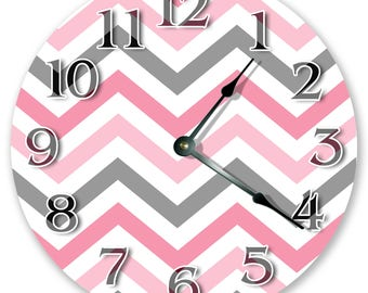"10.5"" Elegant Chevron Design Clock - Pink and Gray Clock - Living Room Clock - Large 10.5"" Wall Clock - Home Décor Clock - 3421"