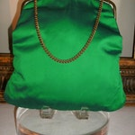 30% OFF SUMMER SALE - - Vintage 1960's Emerald Green Fabic Evening Bag with Chain