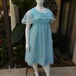 Vintage 1960's Light Blue Floral Print Dress - Size 20