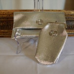 CLEARANCE Vintage 1960's Silver Vinyl Clutch with Matching Cigarette Pack Holder