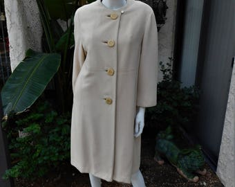 Cappotto - misto lana Bernard Altmann Beige di vintage 1960 dimensioni 12 14 5c2e81e120e
