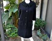 Vintage 1960 39 s Dalton Black Wool Knit Coat with Black Persian Lamb Collar - Size 8