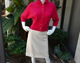 Vintage 1950's Kimberly Pink Cardigan with Dolman Sleeves - Size Medium