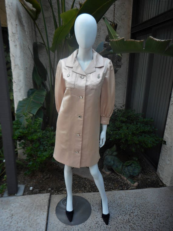 Vintage 1960's Teal Traina Pale Peach Evening Coat