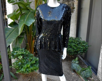 Vintage 1990's I. Magnin Black Sequined Cocktail Dress with Peplum - Size 4