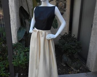 Vintage 1960's Nina Ricci Black and Ivory Silk Evening Dress or Sophisticated Bridal - Size 6