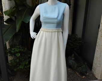 Vintage 1960's Light Blue & Cream Colored Evening Dress - Size 2