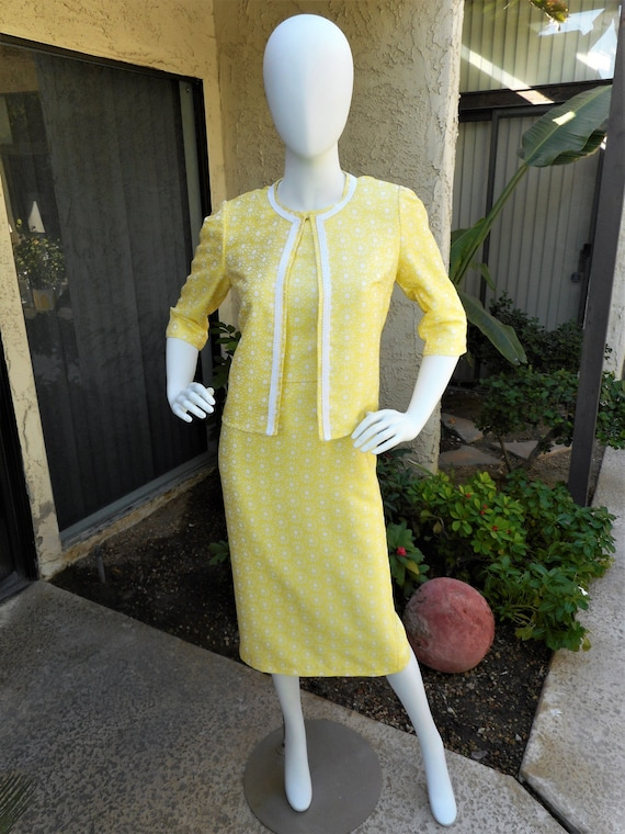 Vintage 1960's Yellow Daisy Print Dress & Jacket S