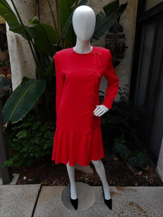 Vintage 1990's David Hayes Red Silk Dress - Size 8