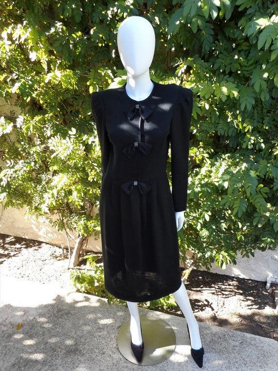 Vintage 1980's Leslie Fay Black Knit Dress - Size
