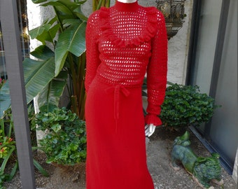 Vintage 1970's Red Crochet Maxi Dress - Size 6