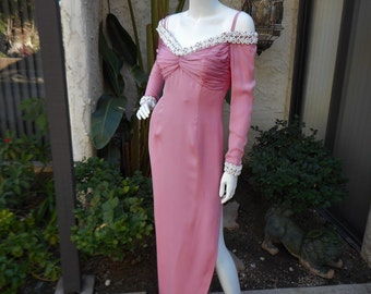 Vintage Pink Off The Shoulder Evening Dress - Size 8