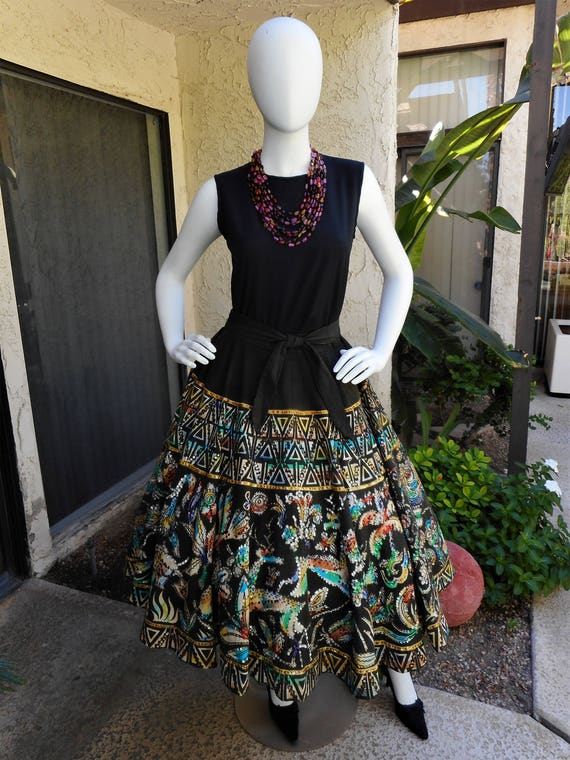 Vintage 1950's Mocambo Hand Painted Mexican Skirt