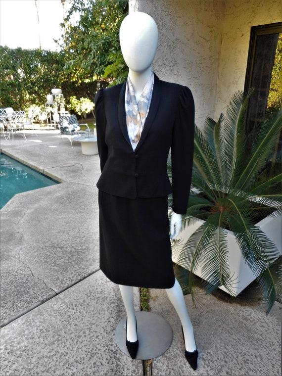 Vintage 1970's Campus Casuals Black Wool Suit - Si