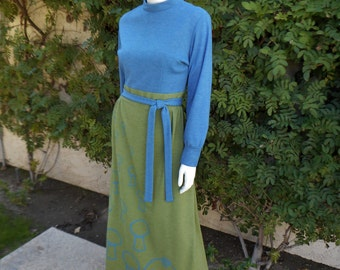 Vintage 1980's The Vested Gentress Blue & Green Knit Dress - Size 12