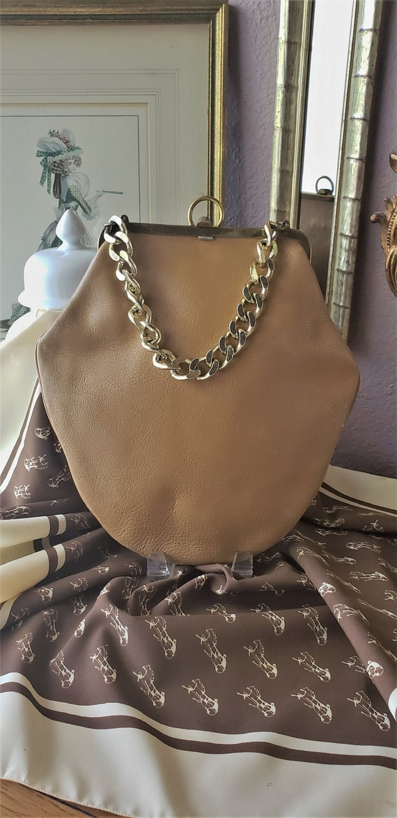 Vintage 1970's Roger Van S Brown Leather Handbag