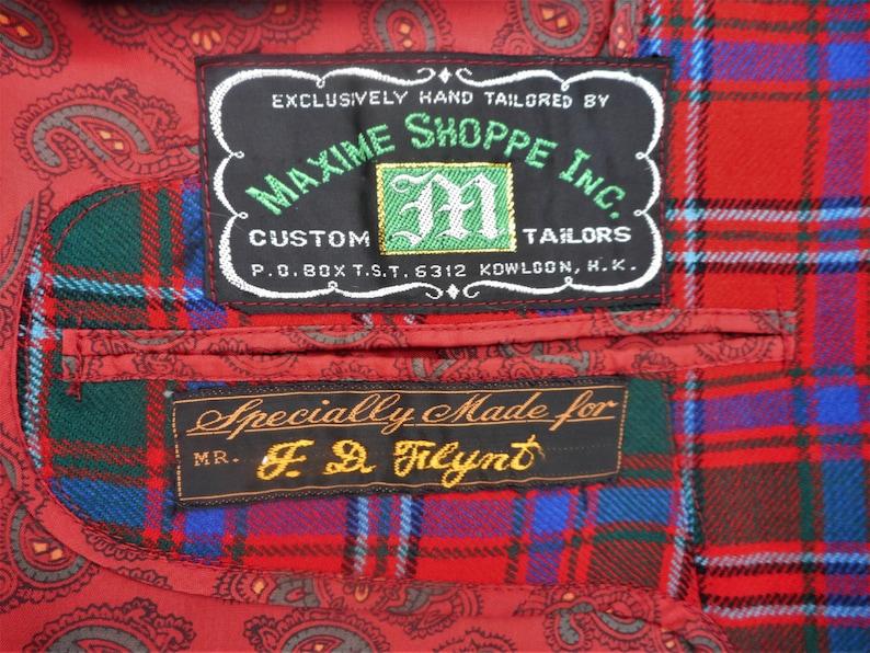 Size 42 Vintage 1981 Maxime Shoppe Red Tartan Plaid Blazer
