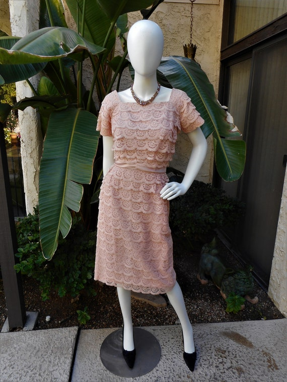 Vintage 1950's DuBarry Dusty Pink Lace Dress - Siz