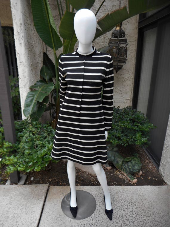 Vintage 1970's Youth Guild Black & Silver Striped