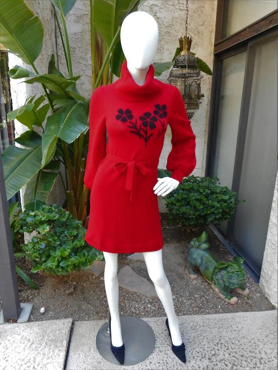 Vintage 1970's Hanae Mori Red Knit Dress - Size 2