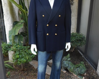 Vintage 1970's Saks Fifth Avenue Navy Blue Wool Double Breasted Blazer - Size 43  Long