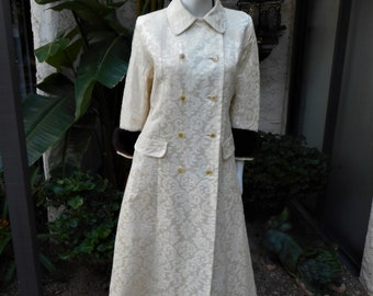 Vintage 1960's Cream Colored Damask Long Coat with Brown Mink Cuffs - Size 16