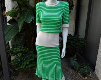 Vintage 1980's Adolfo Green & Cream Colored Knit Dress - Size 2