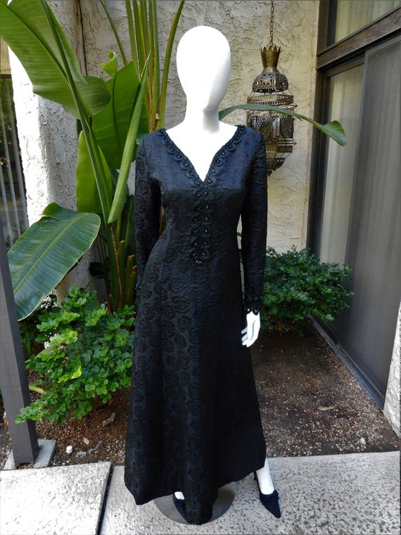 Vintage 1960s Long Black Brocade Evening Dress Size 12 Etsy