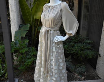 Vintage 1970's Lilli Diamond Beige Evening Dress - Size