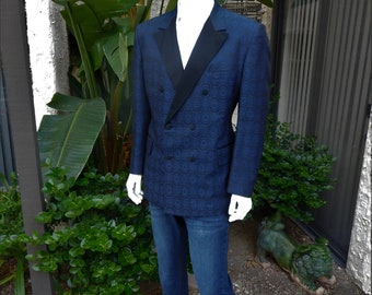 Vintage 1970's Lord West Blue Jaquard Double Breasted Tuxedo Jacket - Size 46
