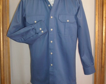 Vintage Maus & Hoffman Slate Blue Long Sleeve Aviator Shirt  - Size Medium